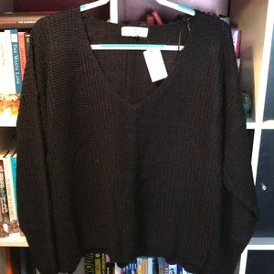 Rue21/No Comment Black Knit Sweater with V-neck